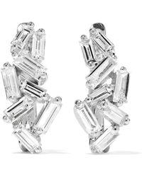 Suzanne Kalan | Huggie 18-karat White Gold Diamond Earrings | Lyst