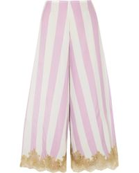 Rosamosario - Wallah, Let's Stripes Lace-trimmed Silk Pajama Pants - Lyst