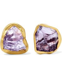 Pippa Small - 18-karat Gold Amethyst Earrings - Lyst