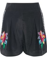 Matthew Williamson - Embellished Embroidered Silk Crepe De Chine Shorts - Lyst