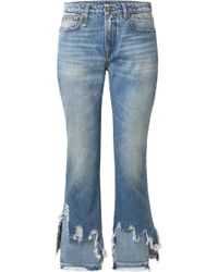 R13 - Cropped Distressed Mid-rise Flared Jeans - Lyst