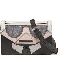 Karl Lagerfeld - Kocktail Karl Panelled Glittered Textured-leather Shoulder Bag - Lyst
