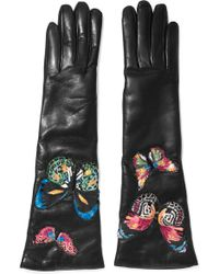 Valentino - Butterfly-appliquéd Leather Gloves - Lyst