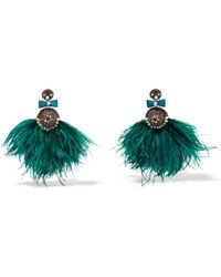 Ranjana Khan - Lory Silver-tone, Feather, Mother-of-pearl And Crystal Clip Earrings - Lyst