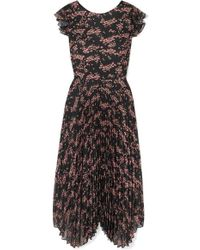 Markus Lupfer - Sadie Pleated Floral-print Crepe De Chine And Chiffon Midi Dress - Lyst