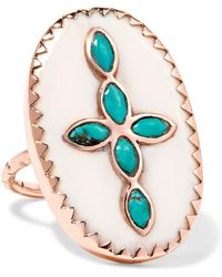 Pascale Monvoisin - Bowie 9-karat Rose Gold, Turquoise And Resin Ring Rose Gold 6 - Lyst