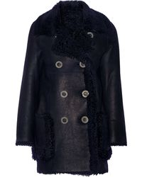 Karl Donoghue - Double-breasted Reversible Shearling Coat - Lyst