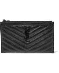Saint Laurent - Monogramme Quilted Textured-leather Pouch - Lyst