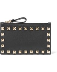 Valentino - Garavani The Rockstud Leather Cardholder - Lyst