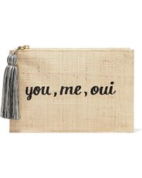 Kayu - Embroidered Woven Straw Pouch - Lyst