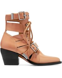 Chloé | Rylee Cutout Leather Ankle Boots | Lyst