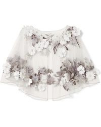 Marchesa - Embellished Tulle Cape - Lyst