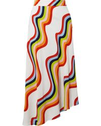 House of Holland - Asymmetric Printed Voile Midi Skirt - Lyst