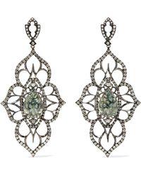 Loree Rodkin - 18-karat Rhodium White Gold, Sapphire And Diamond Earrings - Lyst