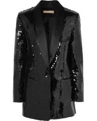 Michael Kors - Silk Satin-trimmed Sequined Crepe Tuxedo Jacket - Lyst