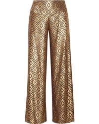 Anna Sui - Metallic Devoré-chiffon Wide-leg Pants - Lyst