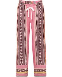 lemlem - Luchia Embroidered Striped Cotton-blend Gauze Trousers - Lyst