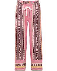 lemlem - Luchia Embroidered Striped Cotton-blend Gauze Pants - Lyst