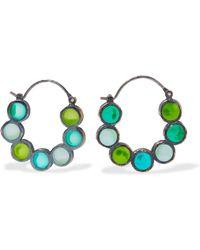 Bottega Veneta - Oxidized Silver Crystal Hoop Earrings - Lyst