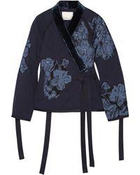3.1 Phillip Lim - Floral-appliquéd Velvet-trimmed Cotton Jacket - Lyst