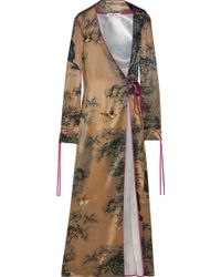 Attico | Liza Var Embroidered Printed Silk-satin Wrap Robe | Lyst