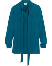 Tod's - Pleated Silk Crepe De Chine Shirt - Lyst