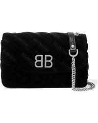Balenciaga - Bb Chain Embroidered Quilted Velvet Shoulder Bag - Lyst