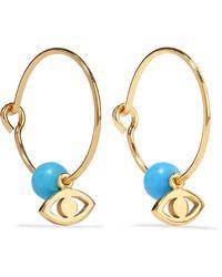 Iam By Ileana Makri - Satelite Eye Gold-plated Turquoise Hoop Earrings - Lyst