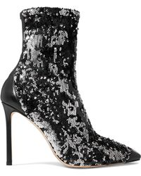 Jimmy Choo - Ricky Leather-trimmed Sequined Stretch-knit Sock Boots - Lyst