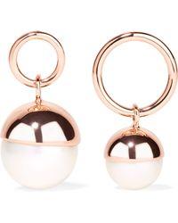 Ryan Storer - Rose Gold-plated Faux Pearl Earrings - Lyst