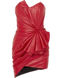 Alexandre Vauthier - Ruffled Gathered Leather Mini Dress - Lyst