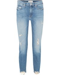 Mother - Flirt Fray Distressed Mid-rise Straight-leg Jeans - Lyst