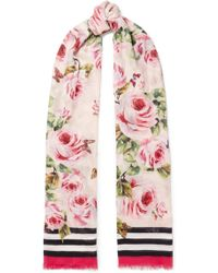 Dolce & Gabbana - Printed Modal And Cashmere-blend Voile Scarf - Lyst