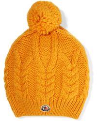 Moncler - Appliquéd Cable-knit Beanie - Lyst