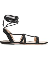 Cult Gaia - Sienna Woven Raffia And Leather Sandals - Lyst