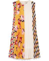 MSGM - Pleated Printed Crepe Mini Dress - Lyst