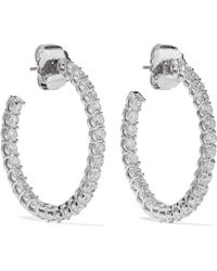Kenneth Jay Lane - Rhodium-plated Cubic Zirconia Hoop Earrings - Lyst
