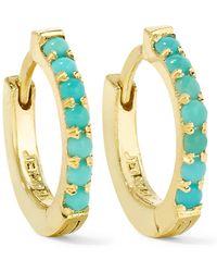Jennifer Meyer - Huggy 18-karat Gold Turquoise Hoop Earrings - Lyst