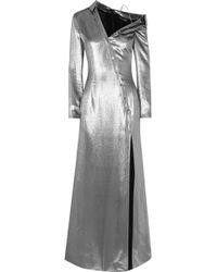 Cushnie et Ochs - Asymmetric Button-detailed Metallic Silk-blend Gown - Lyst