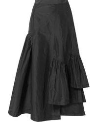 3.1 Phillip Lim - Asymmetric Ruffled Silk-taffeta Midi Skirt - Lyst