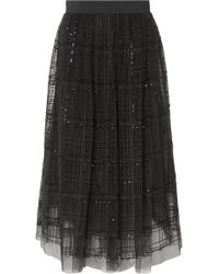 Brunello Cucinelli - Sequin-embellished Embroidered Tulle Midi Skirt - Lyst