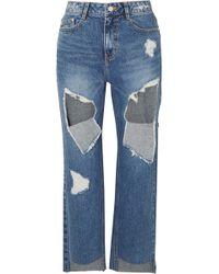 SJYP - Distressed High-rise Straight-leg Jeans - Lyst