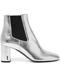 Saint Laurent | Loulou Metallic Textured-leather Ankle Boots | Lyst