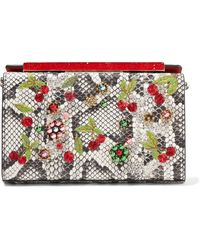 Christian Louboutin - Vanité Small Embellished Watersnake Clutch - Lyst