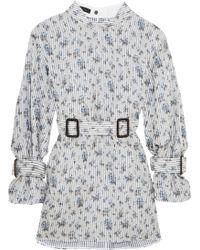 CALVIN KLEIN 205W39NYC - Belted Floral-print Silk-organza Mini Dress - Lyst