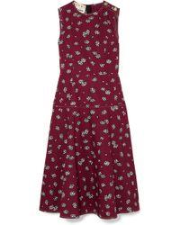 Marni - Floral-print Cotton-poplin Midi Dress - Lyst