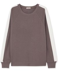 Eberjey - Colby Ringer Striped Stretch Pima Cotton And Modal-blend Sweatshirt - Lyst