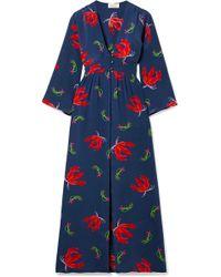 Jaline - Ella Floral-print Silk Crepe De Chine Robe - Lyst
