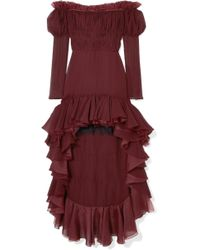 Giambattista Valli - Off-the-shoulder Ruffled Silk-georgette Dress - Lyst