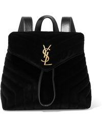 Saint Laurent - Loulou Small Leather-trimmed Quilted Velvet Backpack - Lyst